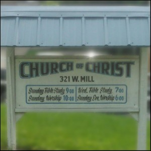 photo of sign - times of services - Grayville church of Christ - Grayville, IL